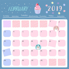 Cute monthly calendar 2019 with llama,rainbow and star for children.Can be used for web,banner,poster,label and printable