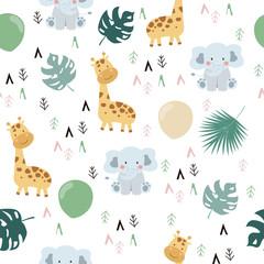 Modèle sans couture dessiné main avec girafe, éléphant, feuille et géométrique