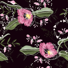 Vintage background. Wallpaper.  Hand drawn. Vector illustration. Trendy floral pattern. Isolated seamless pattern.