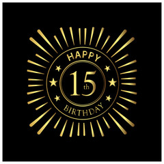 Happy Birthday stock vector template, Happy Birthday forty 15 year