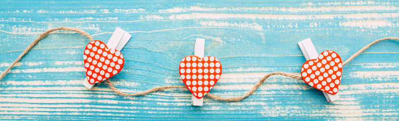 Hearts, valentine's day, rope, blue vintage wooden background