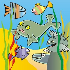 Marine life, group of various fishes. Funny vector illustration.
