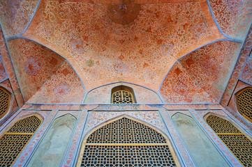 Details of summer terrace of Ali Qapu palace, Isfahan, Iran