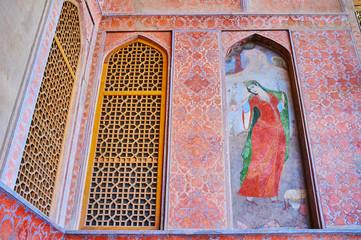 The ornate portico of  Ali Qapu palace, Isfahan, Iran