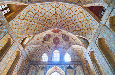 Details of Reception hall of Ali Qapu palace, Isfahan, Iran