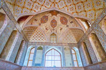 In Reception hall of Ali Qapu palace, Isfahan, Iran