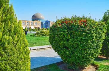 Enjoy the garden of Naqsh-e Jahan Square, Isfahan, Iran