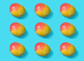 Knolling pattern from ripe juicy mangoes on mint blue background. Creative minimalist flat lay....