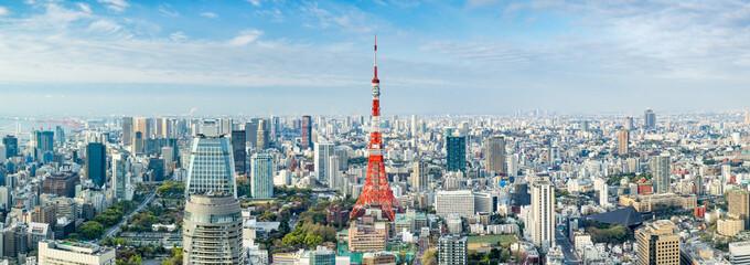 Spoed Fotobehang Tokio Tokyo Panorama mit Tokyo Tower, Japan
