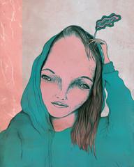 Rauchende Frauen Portrait mit Kaputzen