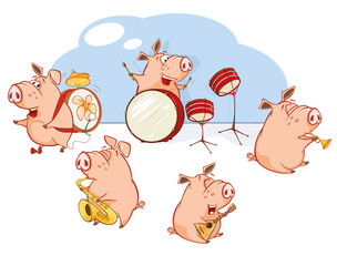Fotorollo Babyzimmer Vector Illustration of The Great Animal Pig Orchestra