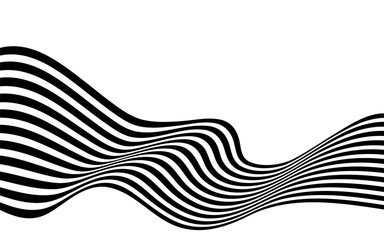 black and white curved line  stripe mobious wave abstract background