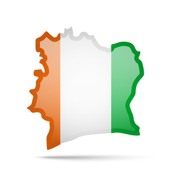 Cote dIvoire flag and outline of the country on a white background.