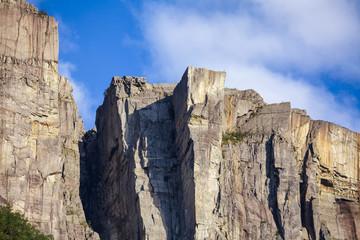 Preikestolen steep cliff major tourist attraction at Lysefjord Forsand Rogaland Norway Scandinavia
