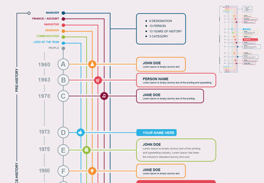 Multicolored Vertical Timeline Infographic