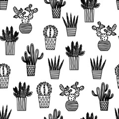 Aluminium Prints Plants in pots Cactus Cacti and Succulents Illustration Seamless Vector Repeat Pattern