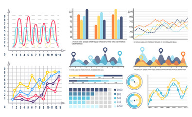 Infographics and curves pie diagrams with segments vector. Design of visualized data, visualization in flowcharts, graphs and schemes with scales