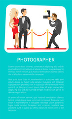 Photographer making photos of popular movie stars or singers on red carpet. Celebrity couple on red carpet and journalist photographing famous people poster