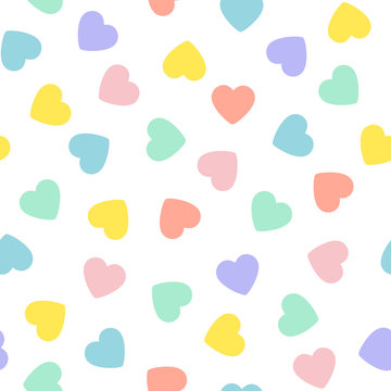Valentine's Day Candy Hearts Seamless Vector Pattern Tile. Pastel Rainbow Conversation Hearts Background. Repeating pattern Tile Swatch Included.