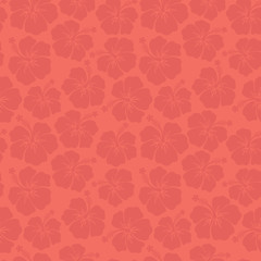 Coral Hibiscus flowers seamless vector pattern. Trend color floral background. Subtle feminine backdrop. For textile fabric wallpaper, covers, surface, wrap, scrapbooking, home decor, page fill.