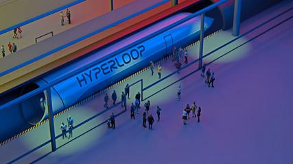 Stazione dei treni e Hyperloop. Passeggeri in attesa del treno. Tecnologia futuribile per il trasporto ad alta velocità di merci e passeggeri all'interno di tubi a bassa pressione. 3d rendering