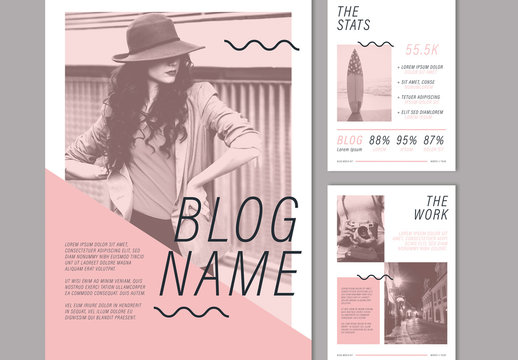 Media Kit Layout with Pink and Black Elements