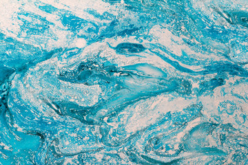 Blur marbling blue texture. Creative background with abstract oil painted waves handmade surface. Liquid paint.