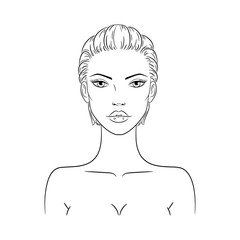 Vector illustration of a beautiful young nude woman with short haircut, isolated on white background. Fashion model sketch