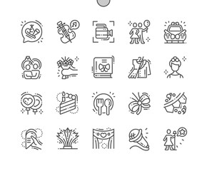 Celebrations Well-crafted Pixel Perfect Vector Thin Line Icons 30 2x Grid for Web Graphics and Apps. Simple Minimal Pictogram