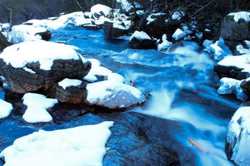 small river in Norway, Hiking in Norway in Winter, Landscape in Winter near Moi, Norway