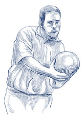 Bowling - An hand drawn illustration on white background in vintage style. Freehand sketching. Retro in blue line art.