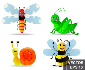 Insects. Cartoon style. Bright. Sweet. Summer. To fly. For your design.
