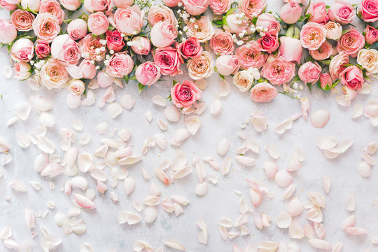 Rose background. Flat lay of rose flowers and petals over textured background. Women's Day,  greeting card or wedding invitation, copy space.