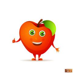 Cartoon fruit character red apple