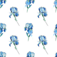 iris flowers seamless pattern