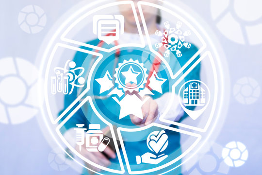 Nurse working on a virtual screen of the future and touches the icon: stars reward. Top Service Health Care concept. Patient Satisfaction Conceptual Medicine.