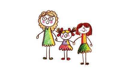 Kids drawing Happy family holding hands Mother, father, sister, brother Happy mom and dad with son and daughter Children illustration with happy couple, kids, parents