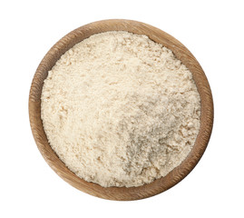 Bowl of sesame flour isolated on white, top view