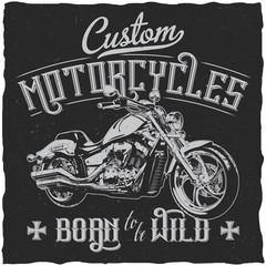 Custom Motorcycles Vintage Label Poster