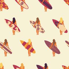 Surfer girl seamless vector pattern. Women holding surfboards illustration beige pink purple background. Summer beach vacation design. Surf sport design banner, flyer, surf store, beach wear.