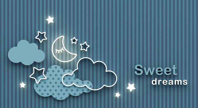 Cartoon sleeping moon, clouds and stars in the night sky. Wishing good night and sweet dreams. Greeting card with copy space. 3D render.