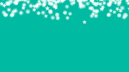 Abstract background with a variety of colorful snowflakes. Big and small.