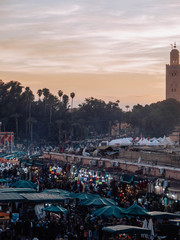 View of the traditional market of Marrakech
