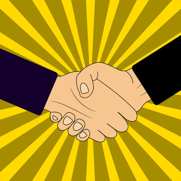 Handshake of business partners on sunbrust background. Pop art style vector illustration