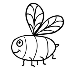 Cute cartoon doodle linear bee isolated on white background. Vector illustration.