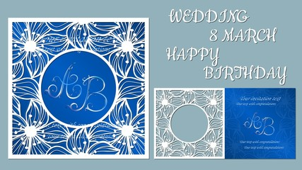 Vector greeting card for holidays. With the image of flowers, orchids. Inscriptions-wedding, March 8, happy birthday. Template for laser cutting, plotter cutting, silk screen printing.