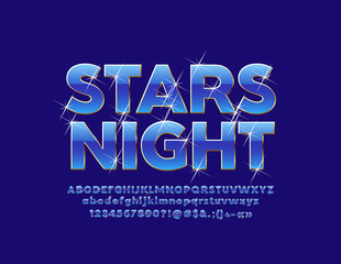 Vector blue logo Stars Nught with sparkling Font. Blue and Golden chic Alphabet Letters, Numbers and Symbols