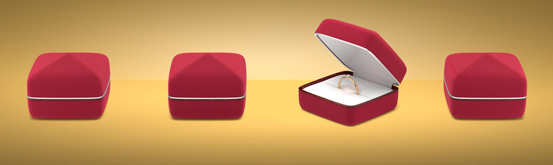 Wedding ring in a beautiful gift box. 3d render, 3D image, 3D model