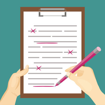 Document verification and correction of errors in content. Proofreader checks grammar mistakes. Hands hold pen and make red marks in wrong text. Vector illustration in cartoon flat style.