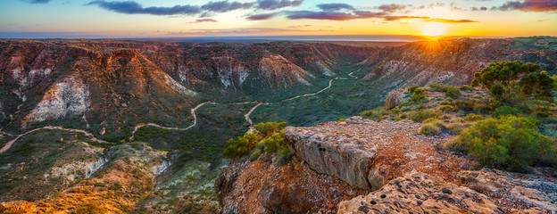 panorama view of sunrise over charles knife canyon, western australia 3 Wall mural